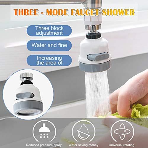 360 Grad Drehbarer Wasserhahn, Wasserhahn küche ausziehbar, Wasserhahn Filter Sprayer, 3 einstellbare Gänge,Verhindern Splash MiMiey (Multicolor)