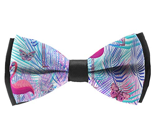Men's fashion Novelty Bow tie Flamingo Palm Leaf Butterflies Pre-tied Bowtie for wedding dinner - Zebra Pre Palm Pink