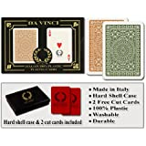 Da Vinci Club Casino, Italian 100% Plastic Playing Cards, 2-Deck Poker Size Regular Index Set, with Hard Shell Case & 2 Cut Cards