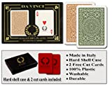 Da Vinci Club Casino, Italian 100% Plastic Playing Cards, 2-Deck Poker Size Regular Index Set, with Hard Shell Case & 2 Cut Cards