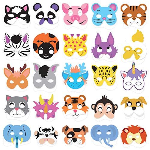 25PCs Animal Masks for Kids Birthday Jungle Safari Zoo theme Party Supplies Dress - up Party Kit Favors (Renewed) -