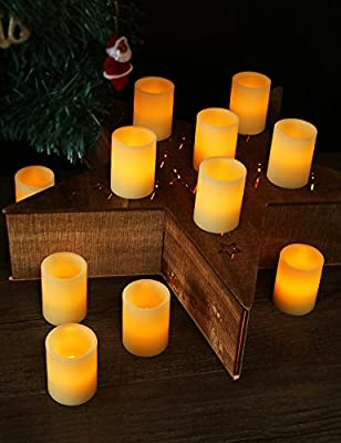 "HOME MOST Set of 12 REAL WAX LED Flameless Votive Candles with Timer (Standard 1.5"" W x 2"" T, Ivory, Battery Included) - Flickering Candles Battery Operated - Real Wax Flameless Candles Home Decor"