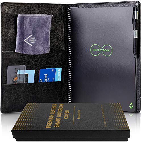 Genuine Leather Rocketbook Cover Everlast - Letter Size Notebook Cover with Pen Holder and Pockets for Business and Credit Cards - A4 Size Soft Black Leather Cover