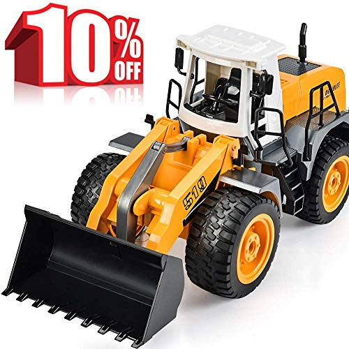 BOUBLE E RC Truck Front Loader 8 Channel Full Functional Bulldozer Remote Control Construction Toy Tractor with Lights Sounds 2.4Ghz ()