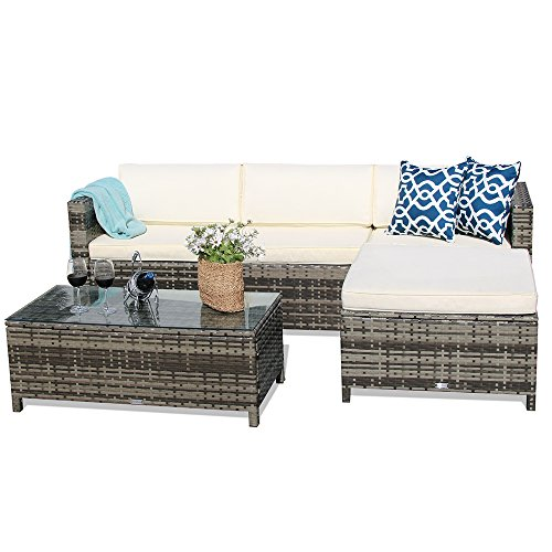 Outdoor Patio Furniture set, 5pc PE Wicker Rattan Sectional Furniture Set with Cream White Seat and Back Cushions, Steel Frame, Red Throw Pillows,Gray