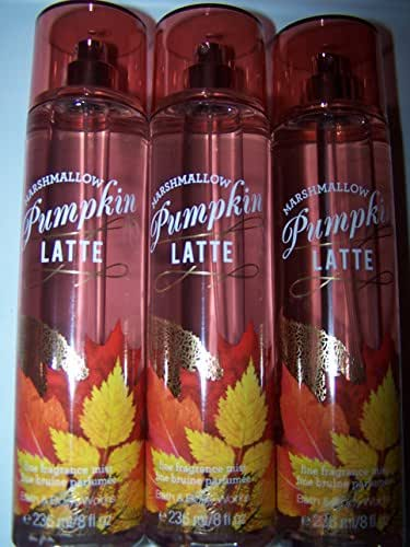Lot of 3 Bath & Body Works Pumpkin Latte & Marshmallow Comfort Fine Fragrance Mist (Pumpkin Latte & Marshmallow Comfort)