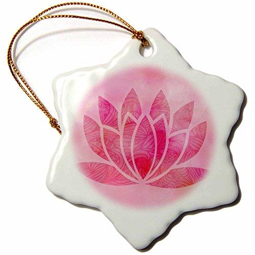 3dRose Andrea Haase Art Illustration - Pink Watercolor Lotus Flower Illustration - 3 inch Snowflake Porcelain Ornament (orn_268367_1) by 3dRose