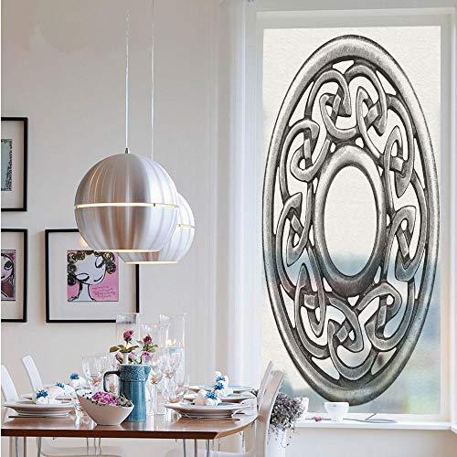 3D Window Films Privacy Film Static Decorative Film,Royal Style Circular Celtic Pattern Graphic Print Metal Brooch Design Scottish Shield(23