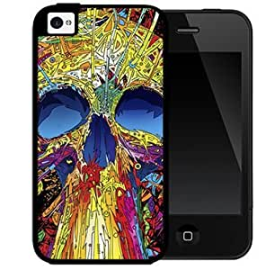 Cool Colorful Psychedelic Skull Abstract Art (iPhone 5/5s) 2-piece Dual Layer High Impact Black Silicone Cover Case