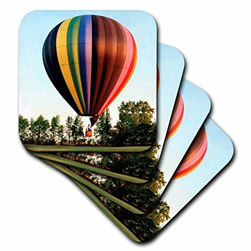 3dRose cst_1154_2 Hot Air Balloon Soft Coasters, Set of 8 (Air Glass Hot Balloon)