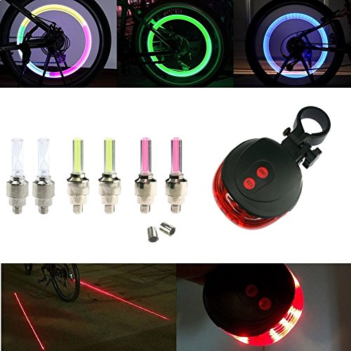 InnoLife - Led Flash Tyre Wheel Valve Cap Light (orange-red-Colorful) + Laser Beam Rear Safety Warning Light For Bike Bicycle Motorbicycle Wheel Light Tire Taillight (Led Caps Red Valve)