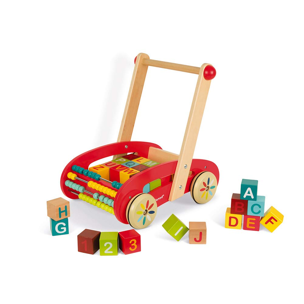 Janod ABC Walking Wooden Trolley Push Cart with 30 Blocks