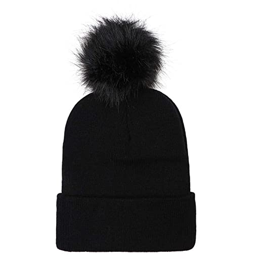 Amazon.com  Faux Fur Pompoms Beanie Hat 1ae120fe9a9