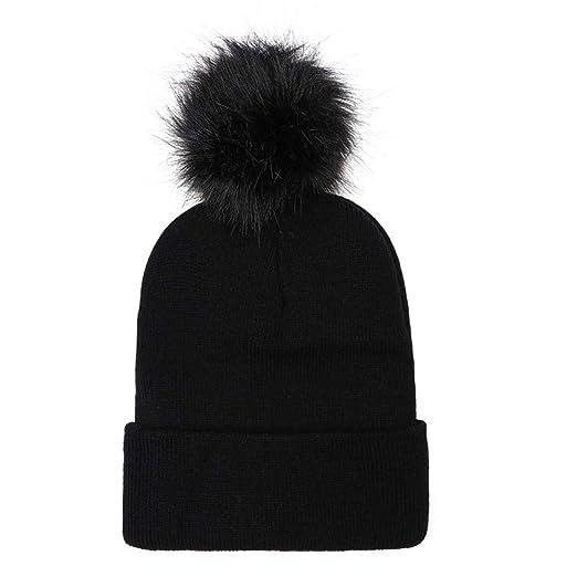 Women Adult Knit Wool Beanie - Winter Solid Ski Hats Fur Pom Pom (Black) 7e1bd3a30