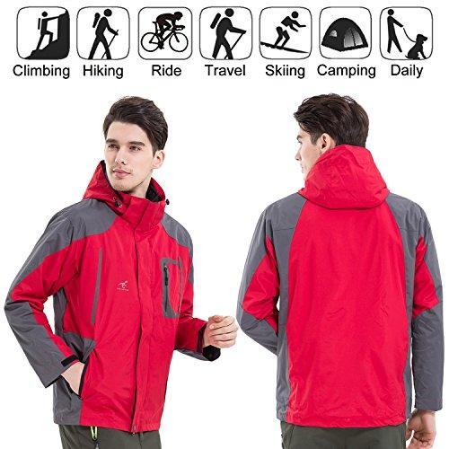 Waterproof Red Colours Rain SEEU Jackets Hood 6 Removable Fleece Outdoor 3 in Mens Jacket 5 Proof 1 with Sizes Jacket Waterproof 8TRtwqT