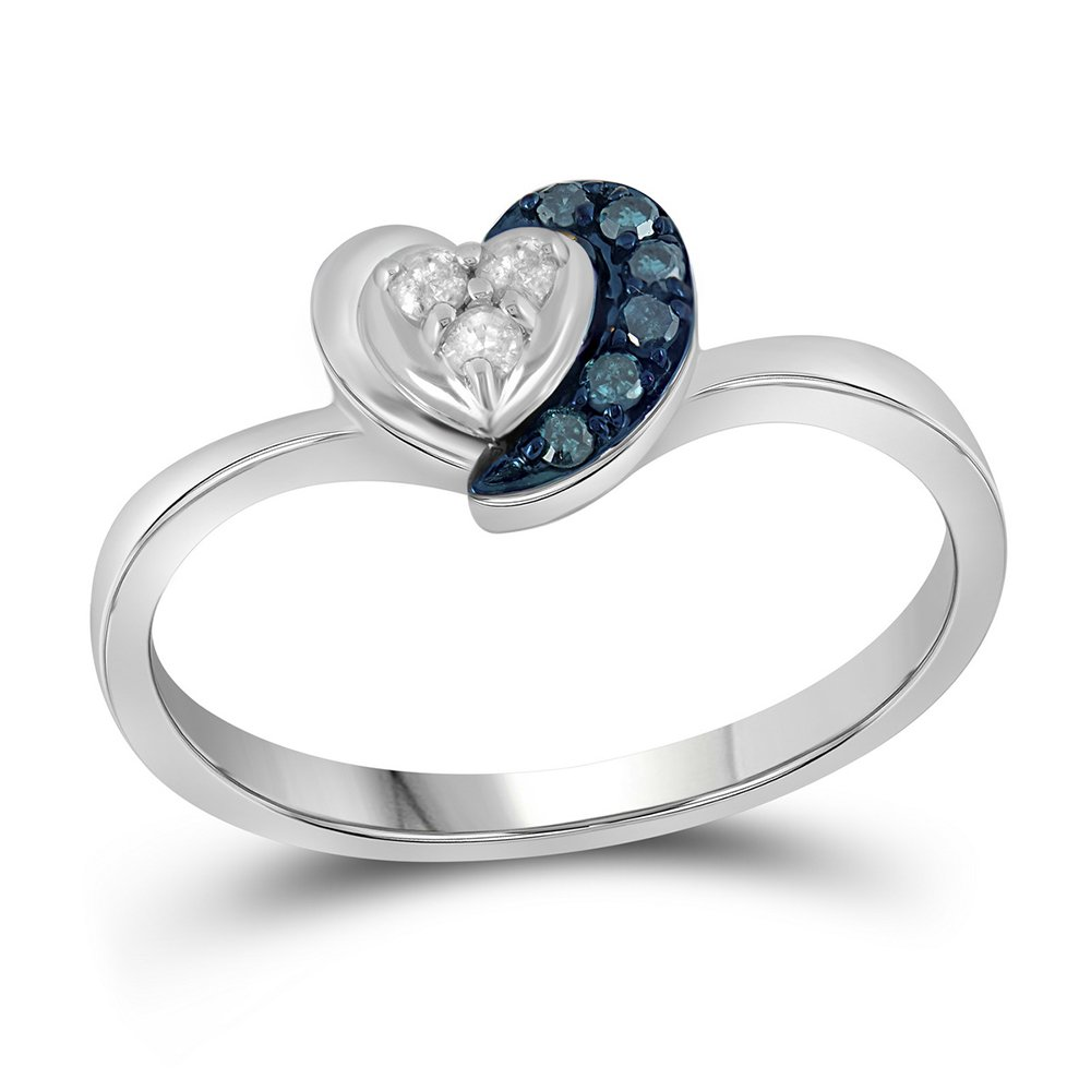 Sterling Silver Blue Diamond Heart Ring Love Band Promise Fashion Curve Stylish Womens Fancy 1/8 ctw Size 5.5