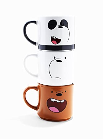 Just Funky We Bare Bears 10oz Stackable Mugs, Set of 3