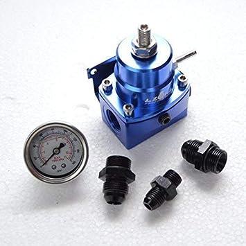 Tuning regulador de presión de gasolina azul dash8 con manómetro ajustable AN8: Amazon.es: Coche y moto