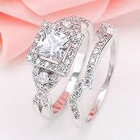 Women Fashion 2PCS Square White Spphire 925 Silver Wedding Couple Rings Set New (6)