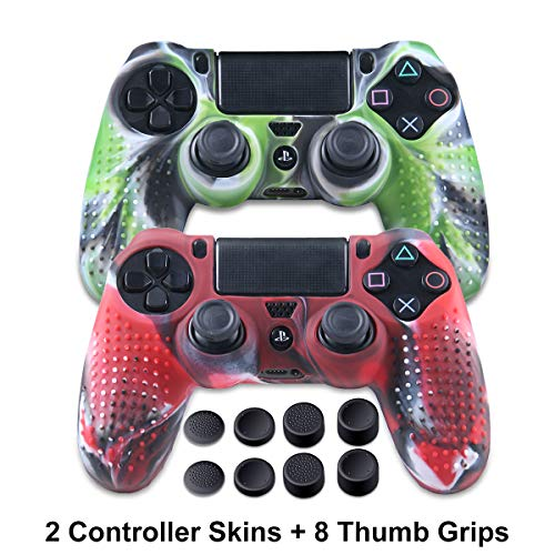 (PS4 Controller Silicone Skins - Anti-Slip PS4 Grip Controller Covers - Protector Accessories for PS4 Slim/Pro - 2 Pack PS4 Controller Cases - 4 Pairs Thumb Grips for PS4 - Camo Green & Camo Red)