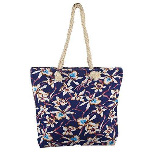 (Lux Accessories Lux Accessories Womens Zip Up Beach Bag Blue)