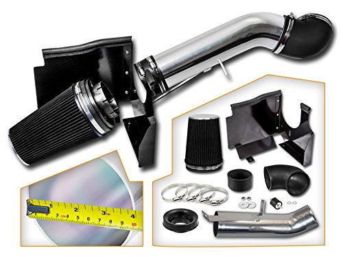 Cold Air Intake System with Heat Shield Kit + Filter Combo BLACK Compatible For 02-06 Cadillac Escalade 5.3L/6.0L