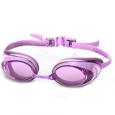 ZHOU LI Lunettes de natation UV imperméables, lentille de natation d'anti-brouillard de HD, bandeaux réglables de silicone de confort appropriés aux adultes de forme physique de loisirs, unisexe