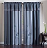Collection 4-Piece Floral Embroidery Window Curtain Set, Blue/Gray