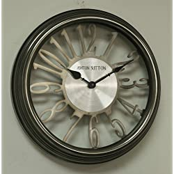 Ashton Sutton CC320ST-Sil Wall Clock with Silver Cut Outs