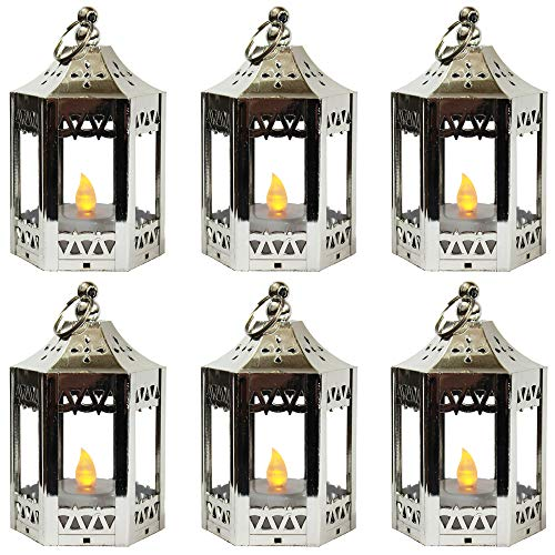 6pc Mini Silver Candle Lanterns with Flickering LED Tea Light Candle, Batteries -
