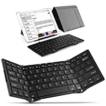 TNP Foldable Full-size Wireless Bluetooth Keyboard - Ultra-slim Aluminum Portable Mini Keyboard Supports USB Wired with Case Cover Stand for iPad iPhone iOS Android Tablet Smartphone Windows PC Mac