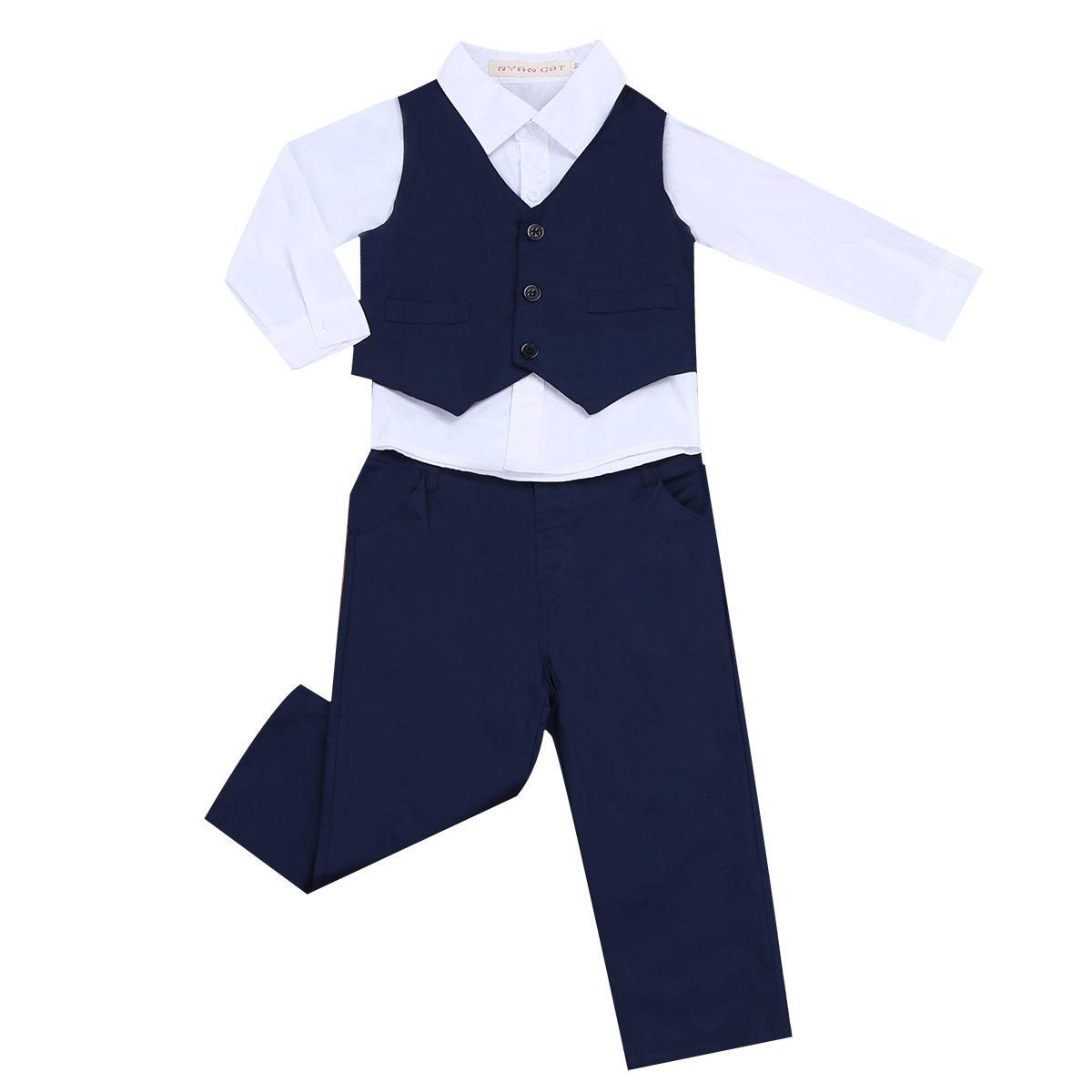 inlzdz Baby Boys Gentleman Tuxedo Suit Wedding Formal Party Outfit White Dress Shirts with Pants Vest Set Navy Blue+White 18-24 Months by inlzdz