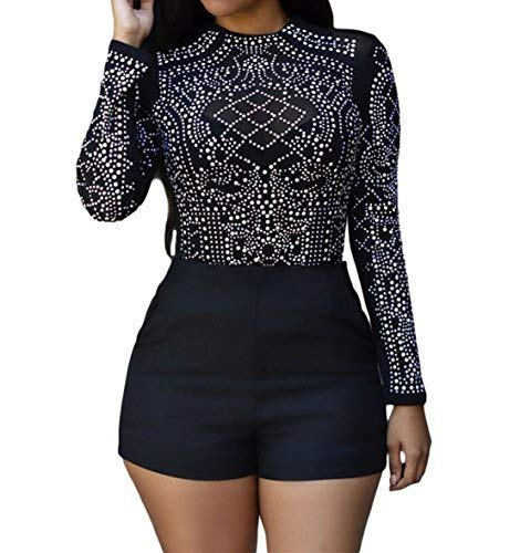 SUBWELL Women's Sheer Mesh Long Sleeve Bodycon Studded T Shirt See Through Tops Blouse