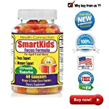 #1 SmartKids Gummies for Your Kids, Brain Focus Formula, Attention,Intelligence,Omega3 + DHA Cognition Brain Supplement NON STIMULANT, NON-HABIT FORMING, & NON ADDICTIVE BRAIN FOCUS FORMULA FOR KIDS