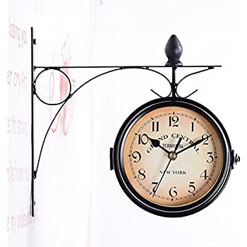 Amyove Retro Clock Vintage Victoria Station Railway Station Clock Living Room Wall