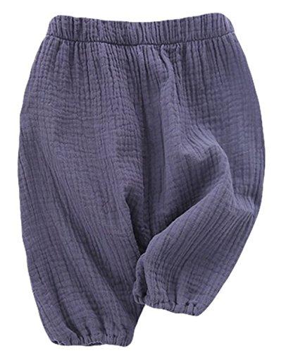 ren Trousers Baby Girls Bloomers Kids Harem Pants Cotton Linen Pants Size 1-2 Years (Blue) ()
