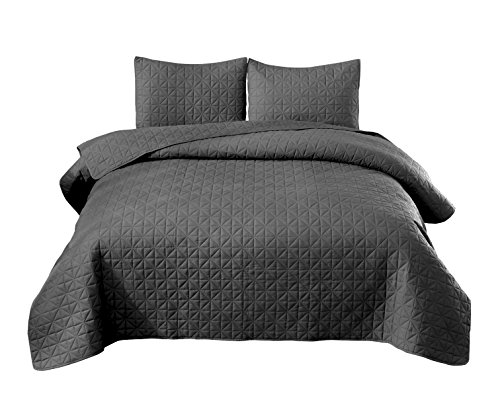 Exclusivo Mezcla 3-Piece Queen Size Quilt Set with Pillow Shams, as Bedspread/Coverlet/ Bed Cover(Solid Steel Grey) - Soft, Lightweight, Reversible& Hypoallergenic