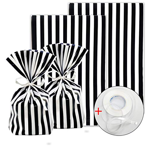 Professional Stripe Tie - ADIDO EVA 100 Pack Cellophane Treat Bags Black and White Stripes Cookie Bags with Ties 8 x 5.5 x 2 inch Clear Plastic Goodie Bags for Dessert Cookie Candy Snack Wrapping Party Favor Bags