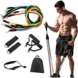 Youlebao 11 Pack Resistance Bands Set,Including 5 Stackable Exercise Bands with Door Anchor,2 Foam Handle,2 Metal Foot…