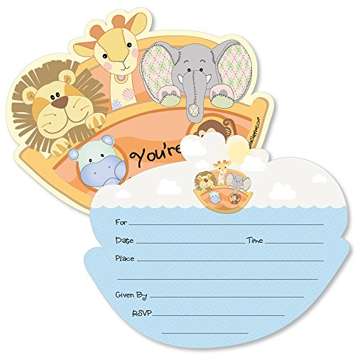 Noah's Ark - Shaped Fill-in Invitations - Baby Shower Invitation Cards with Envelopes - Set of -
