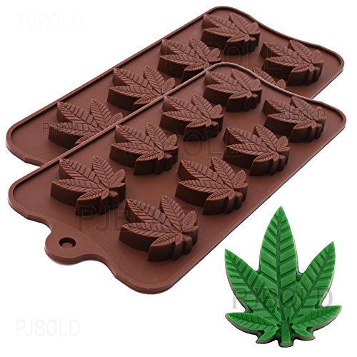 Marijuana Pot Leaf Silicone Candy Mold Trays for Chocolate Cupcake Toppers Gummies Ice Soap Butter Small Brownies or Party Novelty Gift, 2 Pack