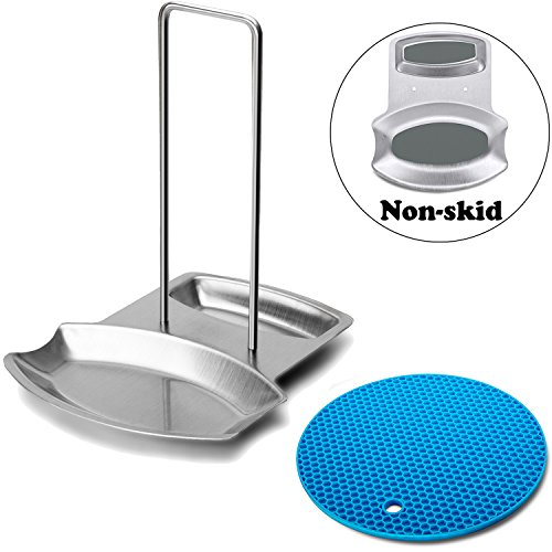 Pan Lid and Spoon Rest Non-Skid Design With Silicone Triv...