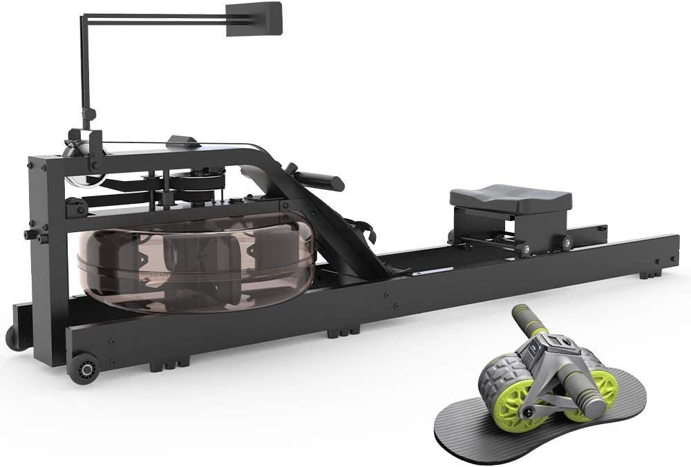 leikefitness Water Rowing Machine GM6050(Black) and Ab Carver Wheel Roller with Intelligent Display 1301 Bundle