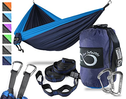 Double Camping Hammock- Best Lightweight & Portable Two Person Hammock Set –Aluminum Wiregate Carabiners, 2- 16 Loop Tree Straps & Compression Strap- Holds 500 LBS -Ideal for Travel -Dark Blue Middle