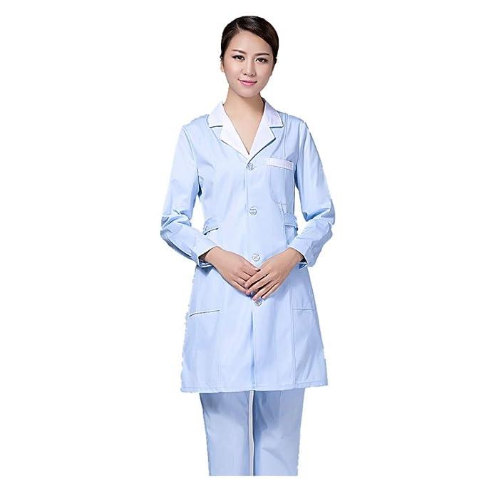 ESENHUANG Enfermera Ropa De Invierno Ropa De Trabajo De Manga Larga Abrigo Blanco Engrosamiento Servicio Médico Médico: Amazon.es: Ropa y accesorios