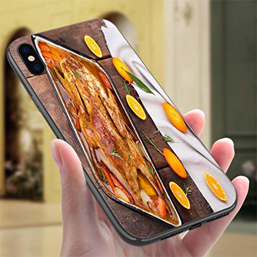 (Creative iPhone Case for iPhone XR Roasted Duck with Vegetables Citrus and Rosemary Christmas Festive Table Resistance to Falling, Non-Slip,Soft,Convenient Protective Case)