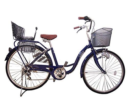 Lupinusルピナス 自転車 26インチ LP-266SD-KNR-B 婦人車 シマノ外装6段ギア ダイナモライト 後子乗せブラック B073LRZ996ネイビー