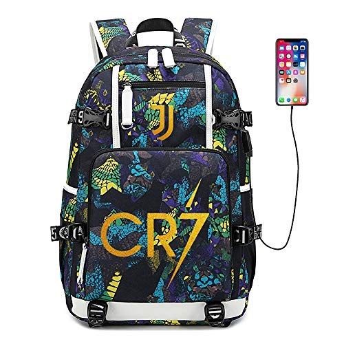 Soccer Player Star Cristiano Ronaldo Multifunction Backpack CR7 Juventus Travel Student Backpack Football Club Fans Bookbag for Men Women Kids (Style 2) (Style 6)