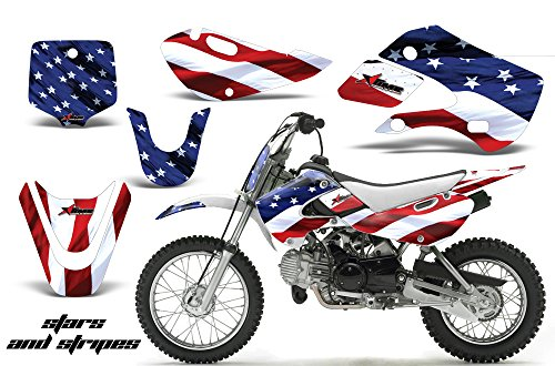 Decal Graphics Kit (Kawasaki KLX110 2002-2009 MX Dirt Bike Graphic Kit Sticker Decals KLX 110 STARS & STRIPES)