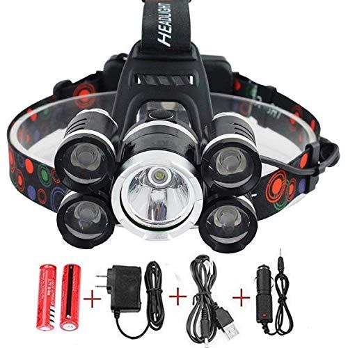 NEWEST And BEST Version Waterproof Headlamp Waterproof 12000 Lumen 5 Led Headlamp XML T6+4Q5 Head Lamp Powerful Led Headlight,Waterproof Camping, Hiking, Hunting,Fishing (Silver)